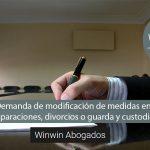 Demanda de modificación de medidas en separaciones, divorcios o guarda y custodia