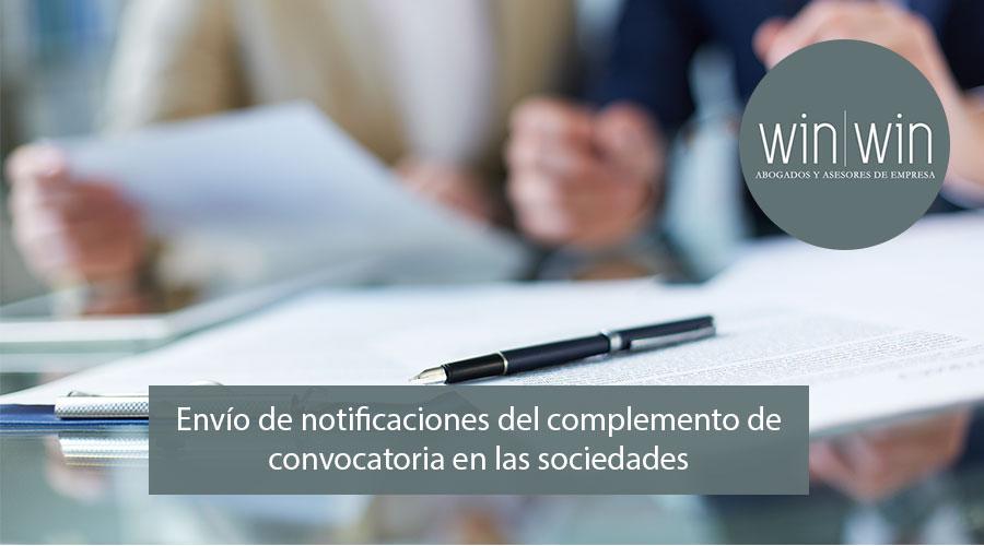 notificaciones del complemento de convocatoria en las sociedades